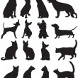 Silhouettes cats and dogs - Stock Vector