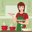 Housewife in kitchen — Stock Vector #23790523
