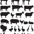 Silhouettes of farm animals — Stock Vector