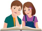 Children read the book — Stock Vector