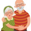 Stock Vector: Happy old couple