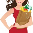 Stock Vector: Healthy eating secret of beauty