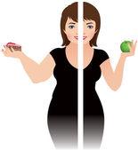 Healthy eating secret of beauty — Stock Vector