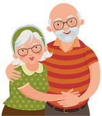 Happy old couple — Stock Vector