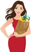 Healthy eating secret of beauty — Stock Vector