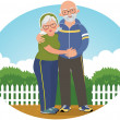 Old couple in track suits — Stockvectorbeeld