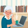 Stock Vector: Elderly womusing laptop