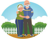 Old couple in track suits — Stock Vector