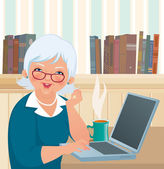 Elderly woman using a laptop — Stock Vector