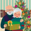 Elderly couple celebrating Christmas — Stok Vektör
