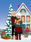 Elderly couple getting gifts at Christmas — Stock Vector