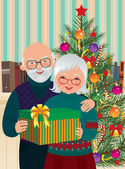 Elderly couple celebrating Christmas — Stock Vector