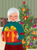 祖母和圣诞礼物 — 图库矢量图片