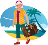 Elderly lady travels — Stock Vector