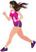Young beautiful girl running — Stock Vector