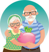 Elderly couple retired — Stock Vector