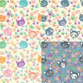 Seamless background cat faces — Stock Vector