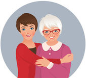 Elderly mother and adult daughter — Stock Vector