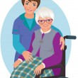 Elderly woman and nurse — Stock Vector #48241629