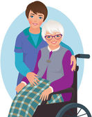 Elderly woman and nurse — Stock Vector