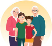 Grandparents and their grandchildren — Stock Vector
