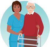 Nurse helps elderly patient — Stock Vector