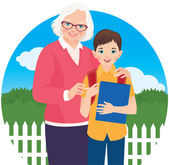 Elderly woman with her grandson schoolboy — Stock Vector