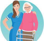 Elderly patient and a nurse — Stock Vector