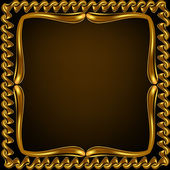 Brown background frame with gold(en) pattern — Stok Vektör