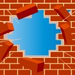Broken brick wall with hole and sky — Imagen vectorial