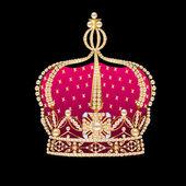 Siyah arka plan üzerinde kraliyet altın corona — Stok Vektör