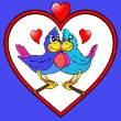Two parrots are kissed in heart — Imagen vectorial