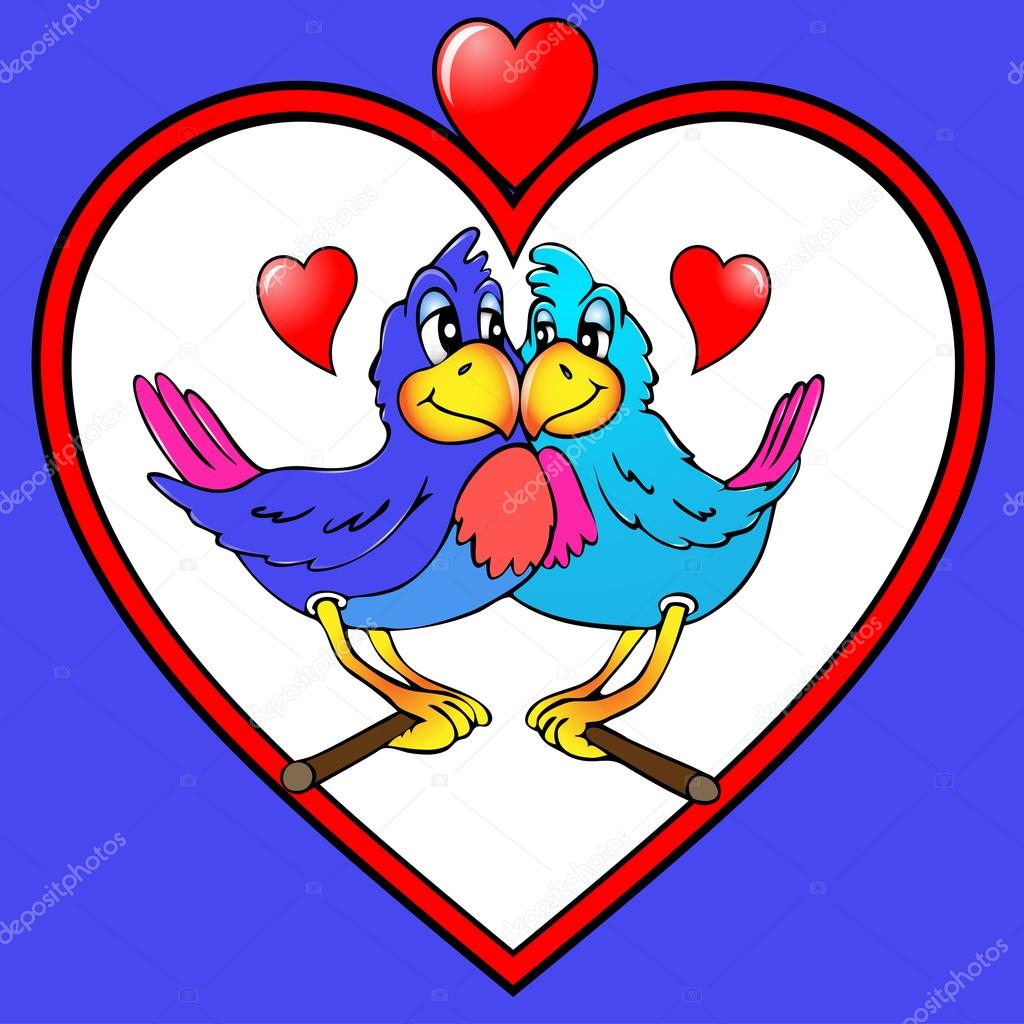 Illustration two parrots are kissed in heart — Vettoriali Stock  #12365391