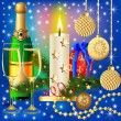 Stock vektor: Festive background with candle ball and gift