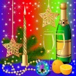 Stock vektor: Festive background with candle by ball by orange