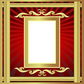 Gold(en) frame with pattern and ray — Vector de stock