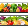 Stock Vector: Set food vegetables and fruits painting vector damp