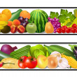 Set food vegetables and fruits painting vector damp — Stockvektor