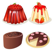 Set dessert jelly with cherry and strawberries cake and cake — Stock Vector