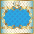 Stock Vector: Blue background for invitation gold pattern and crown