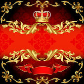 Red background frame gold pattern and corona — Stock Vector