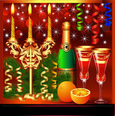 Festive background with candles wine and glasses — Stockvektor