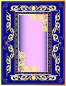 A dark blue background a frame with a gold pattern — Stock Vector