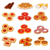Set tasty sand cookies and cake — Stock Vector