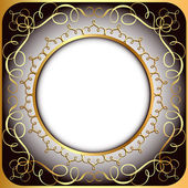 Background frame with gold(en) circular pattern — Wektor stockowy