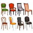 Set of different chairs for home and office — Stok Vektör