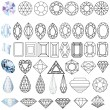 Cut precious gem stones set of forms — Stock Vector