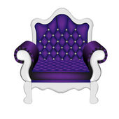 An ancient violet chair on the white — Stock Vector