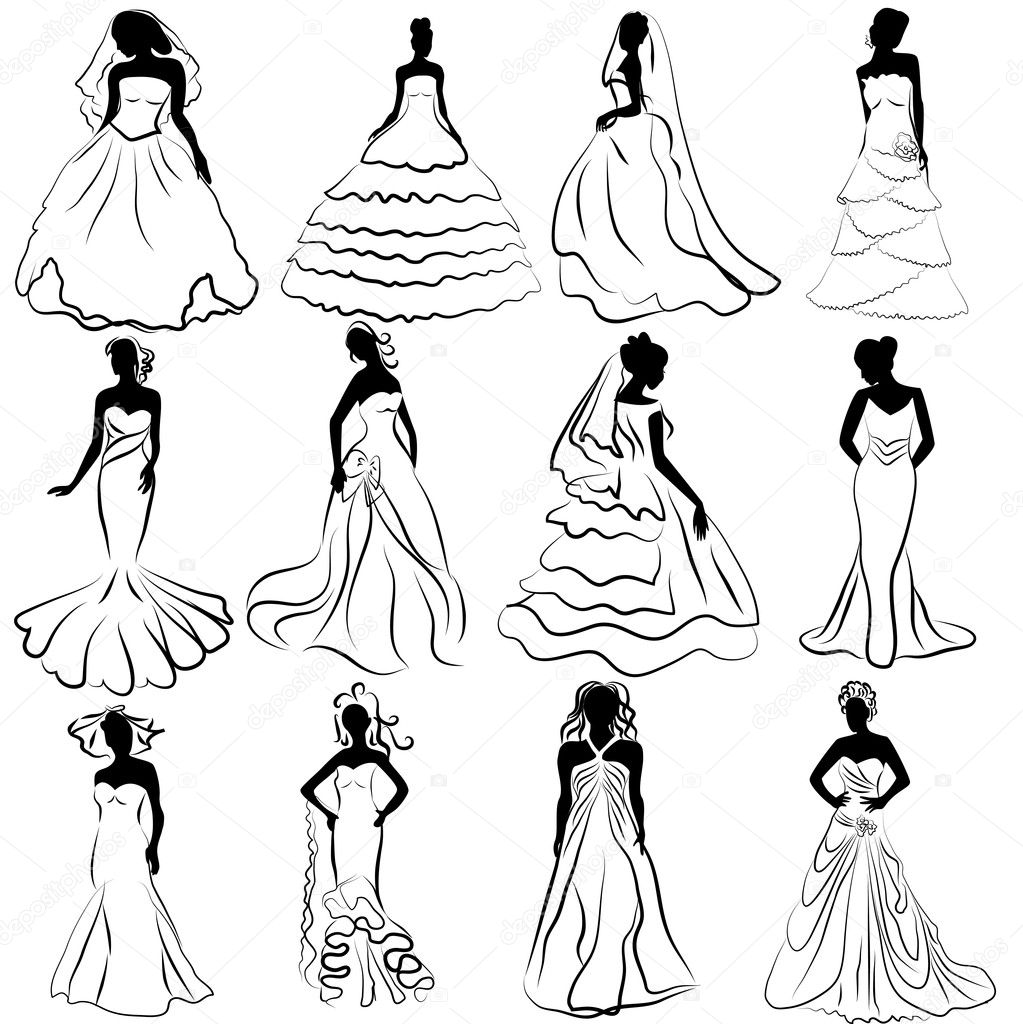 Illustration kit silhouette of the brides in wedding charge — Stock Vector #13865793