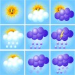 Merry set of icons to indicate weather — Stock Vector